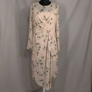 Silk Dress Strawberry Floral Feminine Pink Sheer